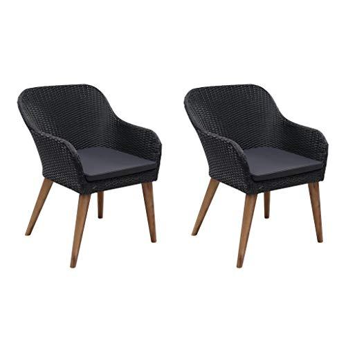vidaXL 2X Gartensessel Poly Rattan Gartenstuhl Gartenmöbel Sessel Stuhl Stühle