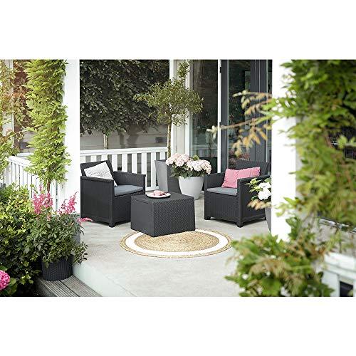 Koll Living Garden Balkon-Set 3-TLG. bestehend aus: 2X Sessel und Kissenbox Tisch – stilvolle Sitzgruppe in Rattan Optik – inklusive Sitzkissen – ergonomische Rückenlehnen für maximalen Sitzkomfort
