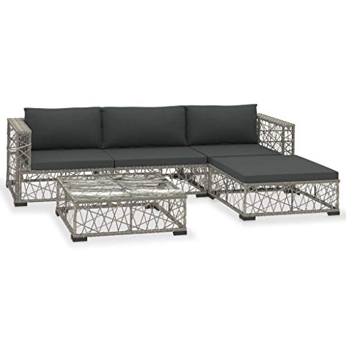 vidaXL Gartenmöbel 5-TLG. mit Auflagen Lounge Möbel Sitzgarnitur Gartengarnitur Sitzgruppe Sofa Gartenset Gartensofa Poly Rattan Grau