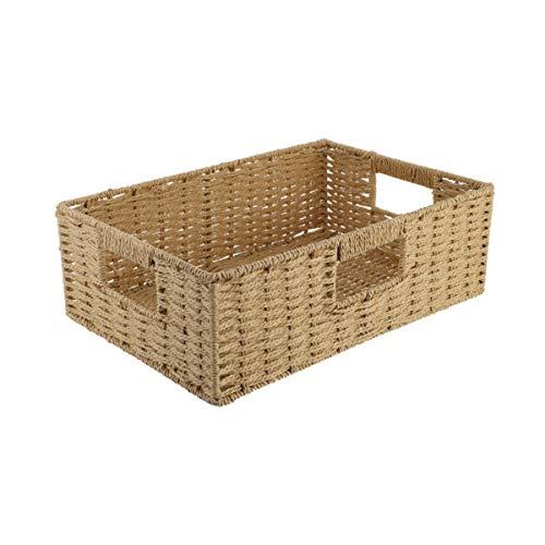 DOITOOL 1Pc Gewebte Aufbewahrungskorb Haushalt Modische Rattan Korb Aufbewahrungsbehälter für Lagerung Bad Wohnzimmer Wäscherei