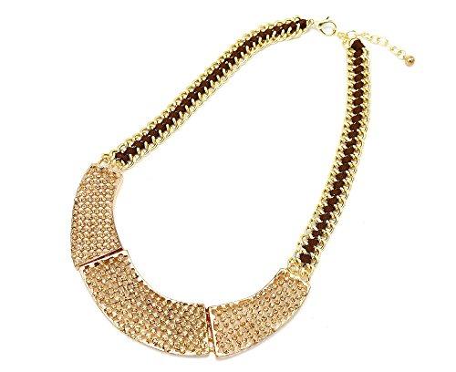 CC552-Halskette/Plastron Kragen Kette Band Strass Polyrattan gold/braun (gold/Modeschmuck