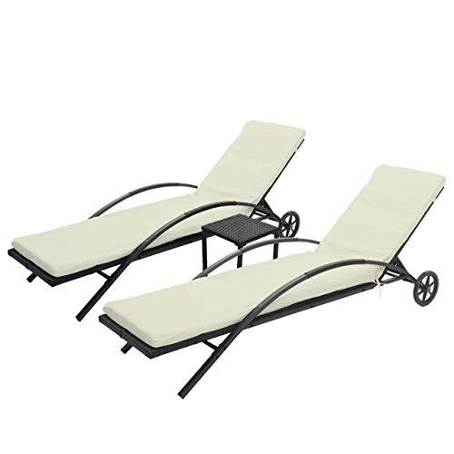 Mendler 2X Sonnenliege HWC-E27, Relaxliege Gartenliege, Poly-Rattan – schwarz, Kissen Creme-beige