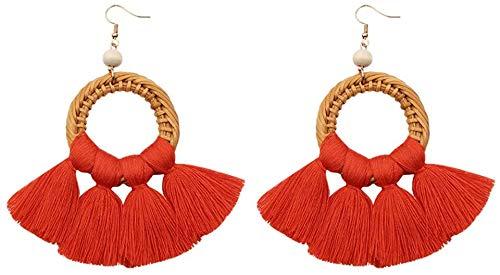 Hinleise Rattan-Quasten-Ohrringe für Mädchen und Frauen, 4,5 cm x 10 cm, Orange