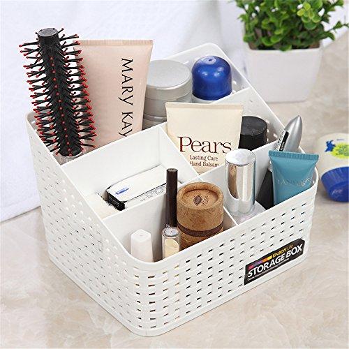 Vanker Schreibtisch-Organizer aus Kunststoff mit mehreren Fächern, für Make-up-Pinsel, Aufbewahrungsbox für mehr Ordnung und Sauberkeit, plastik, weiß, Large