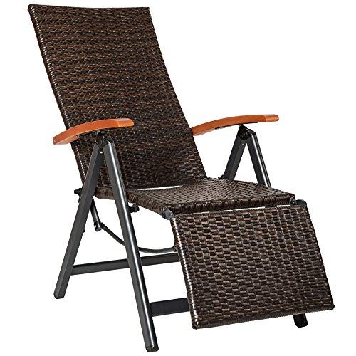 TecTake 800720 Aluminium Poly Rattan Relaxsessel mit Fußablage, klappbar & verstellbar, für Garten, Balkon & Terrasse, Gartenstuhl, witterungsbeständig – Diverse Farben – (Braun | Nr. 402218)