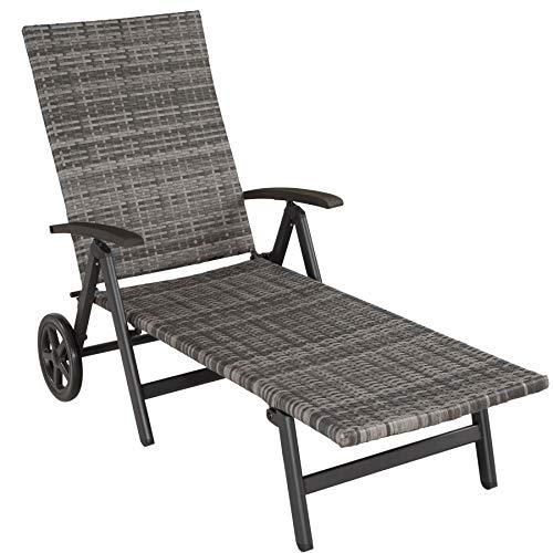 TecTake 800722 Aluminium Poly Rattan Sonnenliege mit Armlehnen und Rollen, klappbar, Gartenliege mit höhenverstellbarer Rückenlehne – Diverse Farben – (Grau | Nr. 403219)