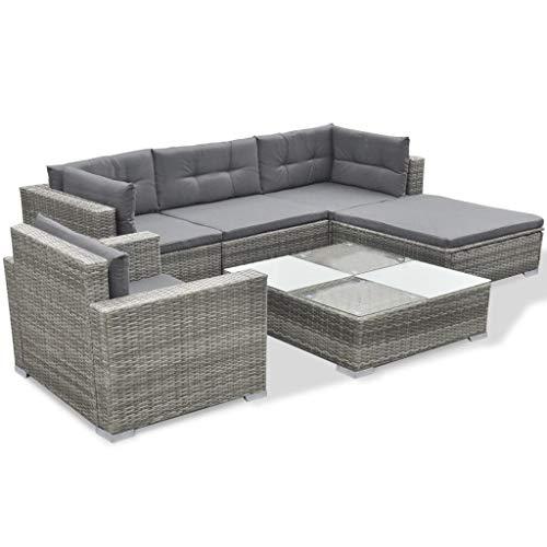 Phoebe Cat 6-TLG. Poly Rattan Garten-Lounge-Set Sitzgruppe Gartenmöbel Sets mit Auflagen Grau