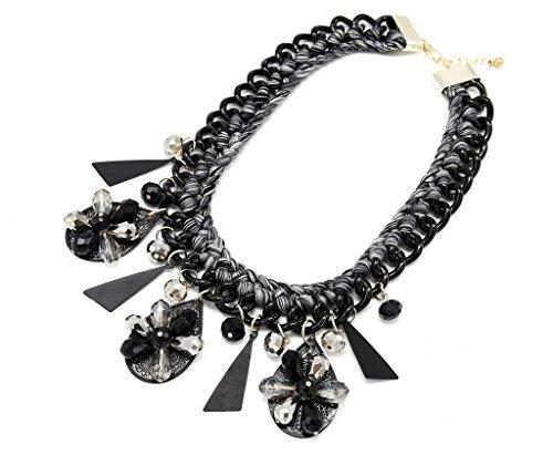 CC554-Halskette/Plastron Polyrattan-Kette Perlen-Anhänger, grau-schwarz/Modeschmuck