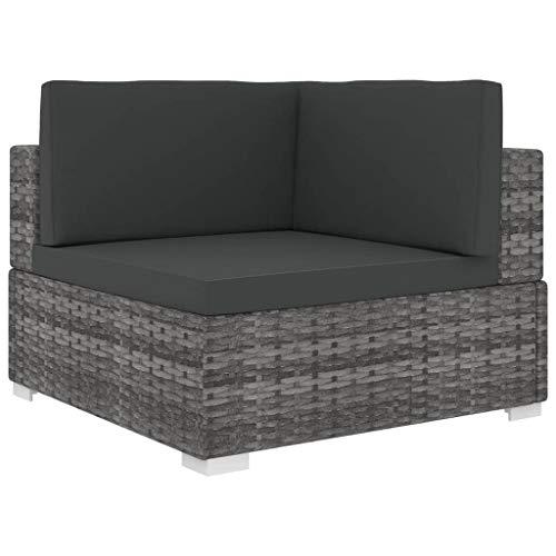 yorten Ecksofa mit Auflagen 1 STK.   Gartensofa Sofa Lounge Rattanmöbel Rattansofa Ecksessel, Poly Rattan Stahlrahmen, 70 x 70 x 52,5 cm (Grau)