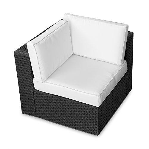 XINRO® (1er Polyrattan Lounge Eck Sessel – Gartenmöbel Ecksessel Rattan – durch andere Polyrattan Lounge Gartenmöbel Elemente erweiterbar – In/Outdoor – handgeflochten – schwarz