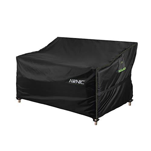 Awnic Bank Abdeckung Schutzhülle für Gartenbank 2 Sitzer Reißfest Wasserdicht Oxford Stoff Anti-UV 134×70× 60/88cm