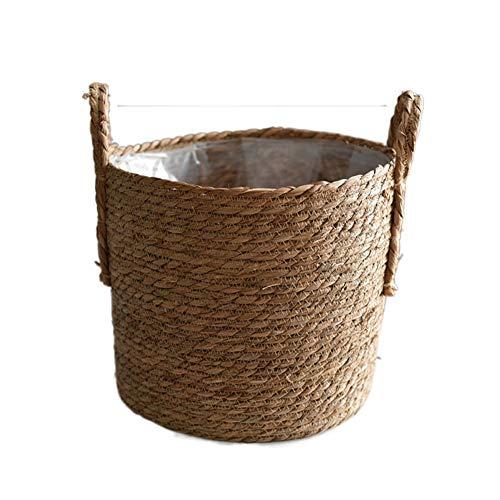 Rattan blumentopf groß,blumentopf,Aufbewahrungskorb, Strohkorb, für Pflanzendekoration, Innen- oder Gartendekoration usw,A2