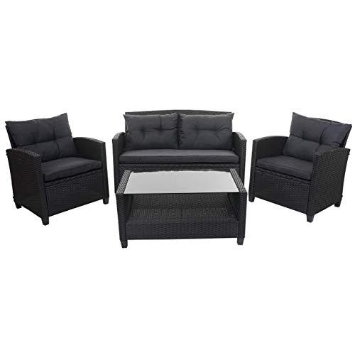 Mendler XXL Poly-Rattan Garnitur HWC-F10, Balkon-/Garten-/Lounge-Set Sitzgruppe, Sofa Sessel mit Kissen Spun Poly – anthrazit