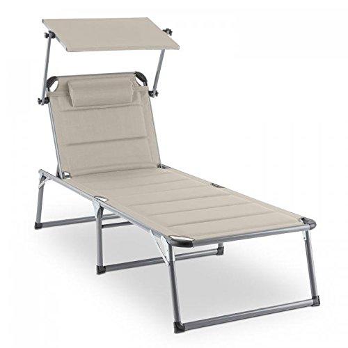 blumfeldt Amalfi Noble Liegestuhl – Sonnenliege, Gartenliege (ergonomische Form, verstellbare Sonnenblende, 5-stufig verstellbare Rückenlehne, Metallrahmen, Pulverbeschichtung, beige