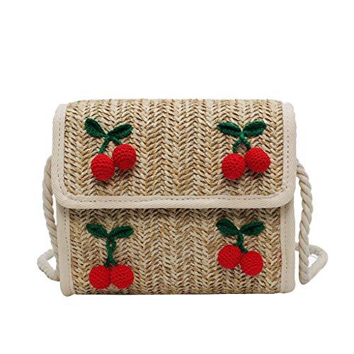 LILIHOT Damenmode Messenger Bag Kirsche Accessoires Volltonfarbe Woven Bag Damen Rattan Tasche Handarbeit Umhängetasche Strandtasche Vintage Einkaufstasche