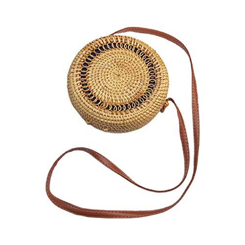 Lowral tragbare handgefertigte Rattan-Umhängetasche, einfaches Design, handgewebte Stroh-Tragetasche, gewebt