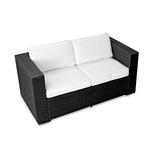 XINRO® (2er Polyrattan Lounge Sofa – Gartenmöbel Couch Bank Rattan – durch andere Polyrattan Lounge Gartenmöbel Elemente erweiterbar – In/Outdoor – handgeflochten – schwarz