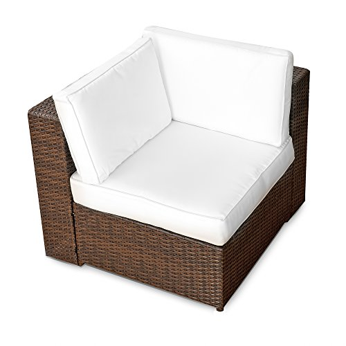 XINRO® (1er Polyrattan Lounge Eck Sessel – Gartenmöbel Ecksessel Rattan – durch andere Polyrattan Lounge Gartenmöbel Elemente erweiterbar – In/Outdoor – handgeflochten – braun