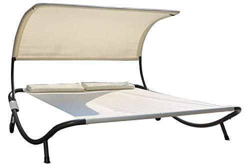 OUTFLEXX Doppelliege, weiß/Silber, Polyester/Stahl pulverbeschichtet, 210x200x45cm, inkl. Nackenkissen, rollbar