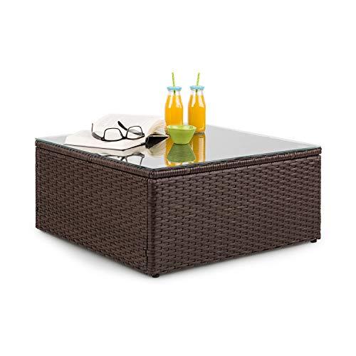 blumfeldt Theia Loungetisch Beistelltisch Gartentisch (aus Polyrattan, Glasplatte, platzsparend) braun