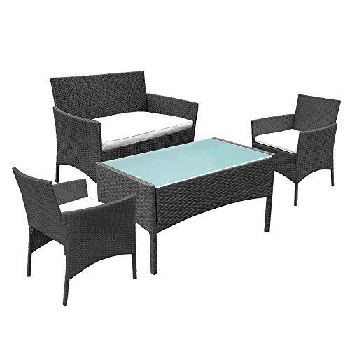 Hengda Gartenmöbel Set Poly Rattan Sitzgruppe Lounge Set Langlebig Lounge Set für 4 Personen – Mit 2-er Sofa, Singlestühle, Tisch und Sitzkissen – Schwarz