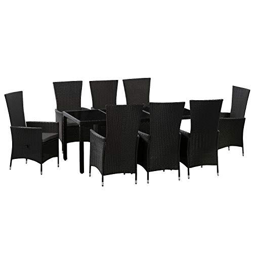 ArtLife Polyrattan Sitzgruppe Rimini Plus 9-teilig & wetterfest – Gartenmöbel Set mit Tisch & 8 Stühle – Essgruppe für 8 Personen – schwarz mit grau