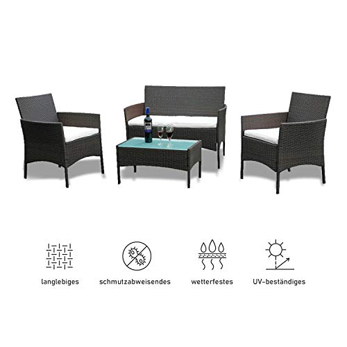 wolketon Gartenmöbel Set Poly Rattan Balkonmöbel Sitzgruppe Schwarz Langlebig Lounge Set Mit 2-er Sofa, Singlestühle, Tisch und Sitzkissen