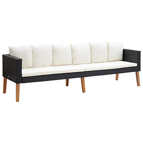 vidaXL Gartensofa 3-Sitzer mit Auflagen Sofa Lounge Gartenmöbel Sitzgruppe Couch Gartenset Sitzgruppe Gartenbank Poly Rattan Schwarz