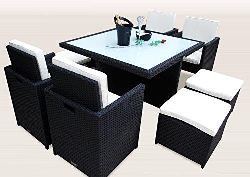 Ragnarök-Möbeldesign PolyRattan – DEUTSCHE Marke – EIGNENE Produktion – 8 Jahre GARANTIE auf UV-Beständigkeit Gartenmöbel Essgruppe Tisch + 4 Stühle & 4 Hocker 12 Polster Schwarz