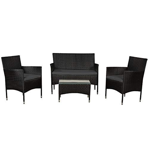 ArtLife Polyrattan Gartenmöbel-Set Fort Myers schwarz – Sitzgruppe mit Tisch, Sofa & 2 Stühlen – Balkonmöbel für 4 Personen mit grauen Auflagen