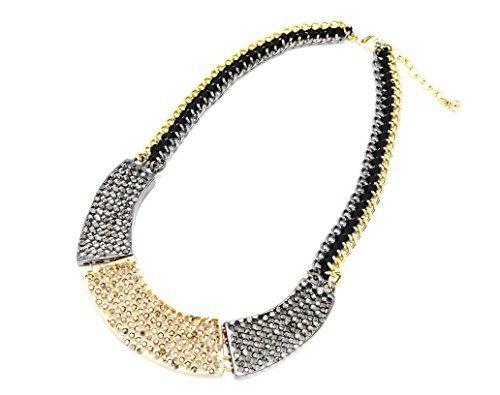 CC551-Halskette Kragen Kette Band Plastron Polyrattan grau-gold/Modeschmuck